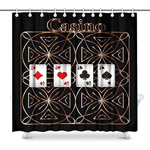 FANCYDAY Casino Aces Spielkarten Poker Karten Wohnkultur Wasserdichtes Polyester Duschvorhang Badezimmer Sets mit Haken