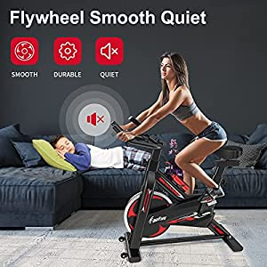 Exercise Bike - Indoor Cycling Bike for Home Gym with Comfortable Seat Cushion,Tablet Holder and LCD Monitor,Silent Belt Drive, Flywheel Smooth Quiet