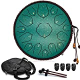 Steel Tongue Drum, 15 Notes 14 inch D-Key - Handpan Percussion Instrument - Tank Chakra Drums with Padded Travel Bag, 2 Mallets, for Meditation, Decompression, Music and Gift (Green)