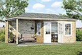 Alpholz 5-Eck Gartenhaus Mosel aus Massiv-Holz | Gerätehaus mit 40 mm Wandstärke | Garten Holzhaus inklusive Montagematerial | Geräteschuppen Größe: 598 x 300 cm