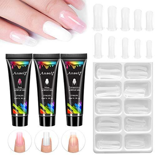 Polygel nail kit,Anself 3 x 15ml Poly Gel Set Extensión de uñas Gel Esmalte de uñas Accesorio para arte Construcción rápida para extensiones de uñas Gel duro