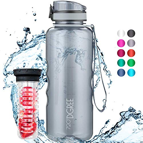 """720°DGREE Trinkflasche """"uberBottle"""" crystalClear +Früchtebehälter - 1,5L - BPA-Frei - Wasserflasche für Sport, Fitness, Outdoor, Wandern - Große Tritan Sportflasche - Leicht, Bruchsicher, Nachhaltig"""