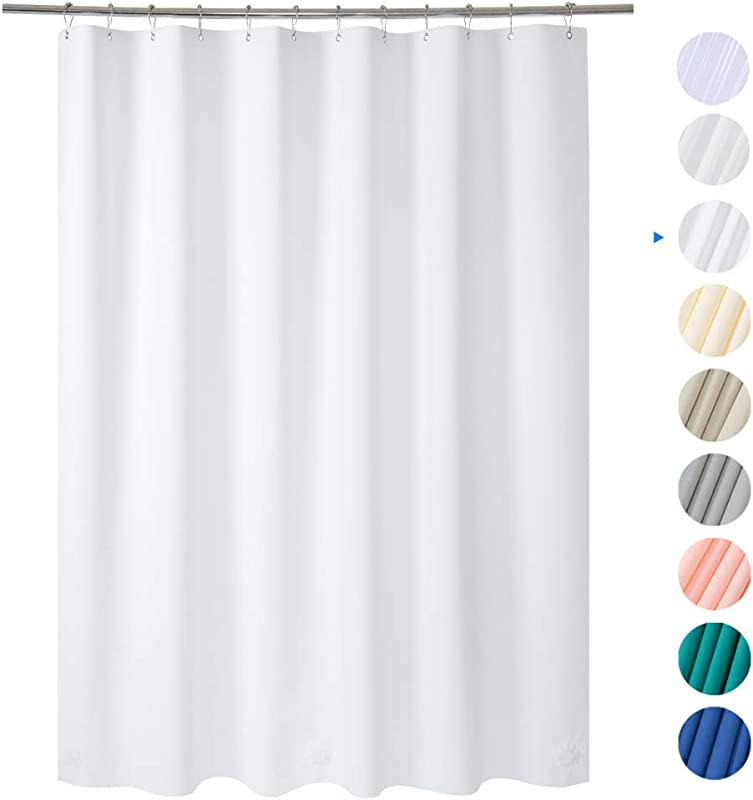 Amazer 72 W X 72 H White EVA 8G Shower Curtain With Heavy Duty Clear Stones And Rustproof Grommet Holes Waterproof Thick Bathroom Plastic Shower Curtains Without Chemical Odor