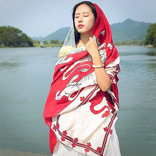 SAIBANGZI Viento Nacional Bufanda Femenina Primavera y Verano pañuelos de impresión de Gran mantón Chal y Toalla de Playa Bufanda de la Crema Solar. Löwe Rot (19).