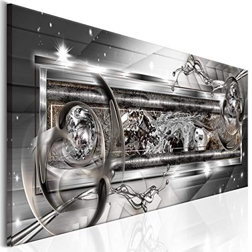 decomonkey Bilder Abstrakt 150x50 cm 1 Teilig Leinwandbilder Bild auf Leinwand Wandbild Kunstdruck Wanddeko Wand Wohnzimmer Wanddekoration Deko Diamant Wasser modern Silber grau