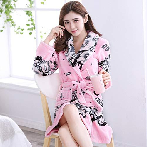 Handaxian Herbst und Winter Flanell Bademantel Damen Bademantel Coral Velvet Pyjama Home Service Bademantel Trend 2 M