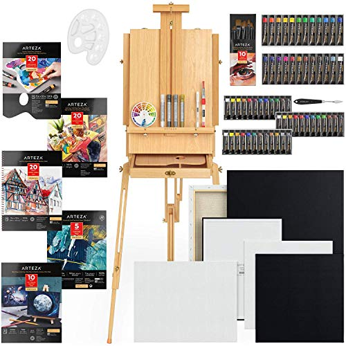 Arteza Portable Mixed Media Art Set, Artist Painting Kit Include Art Paint, Canvases, Paper Pads, Brushes, Easel, Art Supplies Painting Bundle for Professional Artist, Kids, Teens and Adults