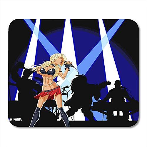 Muis Pads Meisje Diva Van Vrouwelijke Singer Zingen Op Concert Met Haar Band Drummer Pop Mouse Pad Voor Notebooks Computers Muismatten