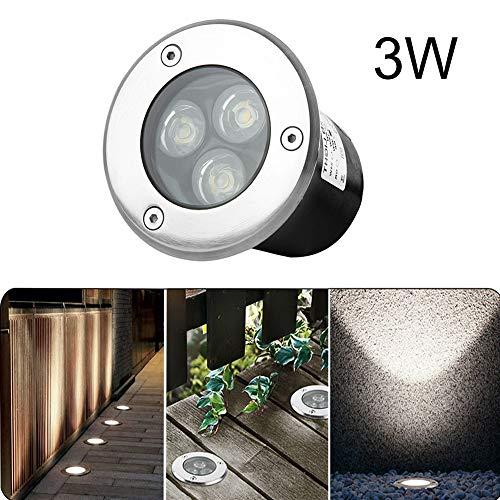 Spot Encastré au Sol LED 230V Spot Encastrable Spots LED Encastrable Extérieur IP67 (3W Blanc Naturel / Rond)