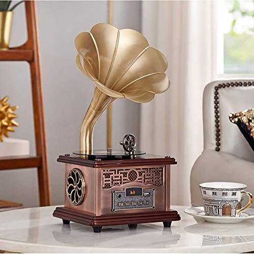 GaoF Tocadiscos de Vinilo, Tocadiscos, Tocadiscos Retro, con Altavoces inalámbricos, fonógrafo de Madera Vintage para decoración de Oficina/hogar, champán Dorado