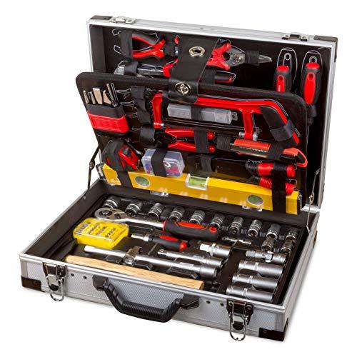 hanSe Professioneller Werkzeugkoffer Werkzeugkiste Werkzeug Chrom- Vanadium 139tlg Alukoffer inkl. Ratschenschlüssel