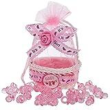 QILICZ Gastgeschenke Taufe mädchen rosa Korb mit Organzabeutel,12 stück Baby Süßigkeit Körbe Taufe Candy Box + 50 Dekoschnuller für schower Babydusche Neugeborenen Baby-Partys Geburtstag