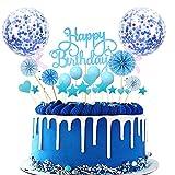 Topper Feliz Cumpleaños,Cake Topper Estrellas,Decoraciones para Tarta,Cake Topper de Cumpleaños,Decoracion Tarta cumpleaños,Cumpleaños Cupcake Toppers,Topper de Pastel de Cumpleaños (Azul)