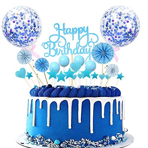 Sunshine smile Tortendeko Geburtstag, Happy Birthday Kuchendeko, Glitter Cake Topper Happy Birthday, Tortendeko Blau, Cupcake Topper mit Sternen Liebe Konfetti-Luftballons und Papierfächer