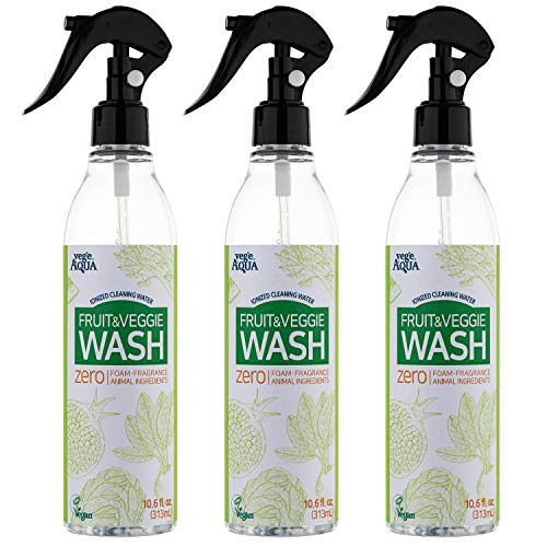 BABY AQUA vegeAQUA - Premium Produce Spray - Patented Ionized Water Cleanser - Tasteless and Odorless - Spray and Rinse - Cleans Fruits and Vegetables in Minutes |10.6 oz/313ml | Pack of 3