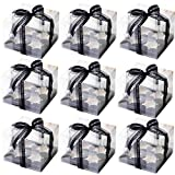 15 pcs Clear Cupcake Boxes,with A Roll of Ribbon,Holds 4 Cupcakes Each,Plastic Disposable Cupcake Boxes Carrier Containers,Cupcake Containers,Clear CupCake Display Boxes,(7x7x5.5 Inch)