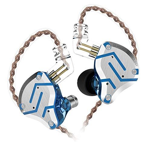 KZ ZS10 Pro In Ear Cuffie 4BA + 1DD Hybrid 10 unità Bass HiFi Auricolari Sport Auricolari con cancellazione del rumore (Senza microfono, Bagliore Blu)