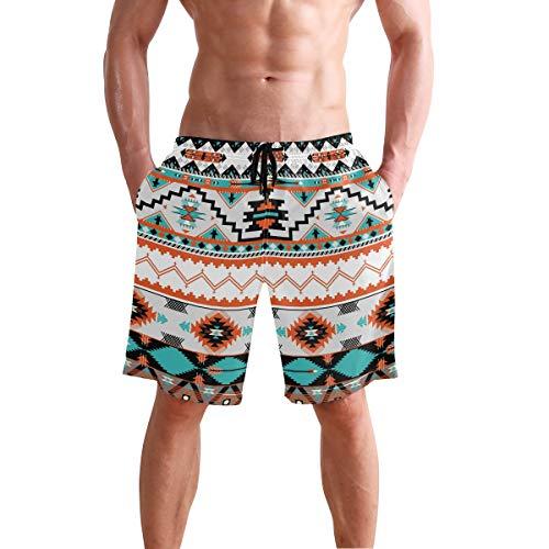Men's Beach Shorts Geometric Abstract Aztec Print Swim Trunks Beachwear Board Shorts Swimwear Bathing Suits