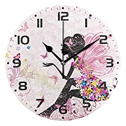 JUMBEAR Butterfly Wall Clock Silent Non Ticking Round Easy to Read Home Office School Clock, Flower Fairy Angel Pink
