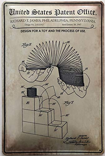 Deko7 blikken bord 30 x 20 cm Unidet States Patent Office - Desing for a Toy and The Process of use 1947