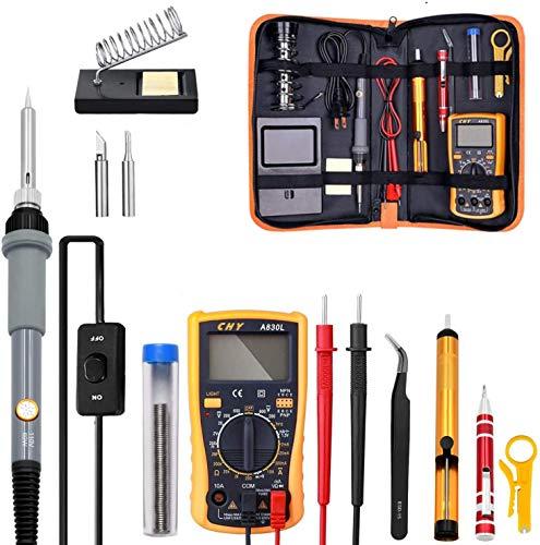 J & J Kit del Soldador de Temperatura Ajustable eléctrico del Kit del Soldador 220V 110V 60W Soldador de la Soldadura Estación de Soldadura de Calor lápiz Herramientas de reparación
