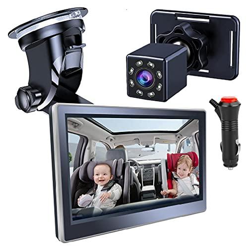 unknows Rcevbocc - Espejo de asiento de coche para bebé (5 pulgadas, ajustable, plegable, 360 °, con cámara de visión nocturna, monitor de asiento trasero de seguridad