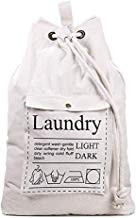 Sentovac Large Canvas Laundry Bag,Fold-able Storage Bag Backpack Spacious Drawstring Cotton Canvas with Strong Adjustable Shoulder Straps and Drawstring Lockable for Bedroom or Dormitory and Travel