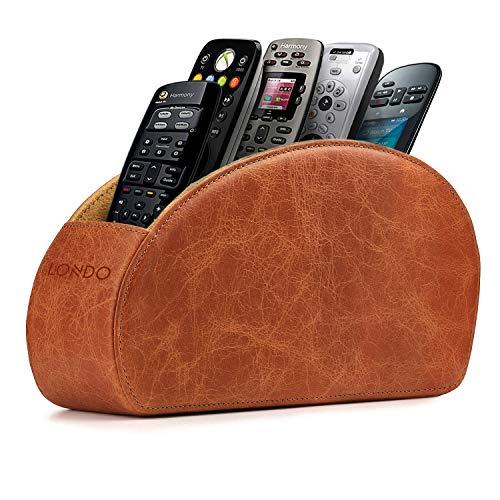 Londo Porta Telecomandi con 5 scomparti - Per contenere telecomandi di TV, stereo, decoder, DVD, Blu-Ray - in Ecopelle con fodera interna in suede. Adatto per salotto o camera da letto. (Marrone)