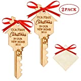 WAVEJOEY 2019 Christmas Ornament Our First Christmas in Our New Home Wooden Key Shape Housewarming Gift Xmas Tree Decoration 2 Pack