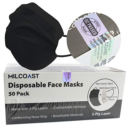 Milcoast Disposable Face Masks Breathable 3-Layer Filter Soft Earloops - 50 Pack Color (Black)