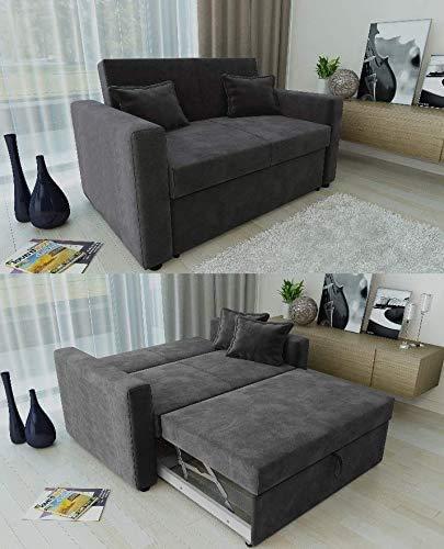 Divano 2 posti, divano letto, divano con cuscini di corrispondenza cassetto,Charcoal