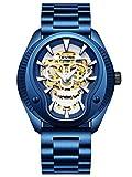 Hombres Reloj Reloj mecánico Masculino de Acero Inoxidable Noctilucent Multifunción Automático Laminado 30 M Popular Unisex (Color : Azul-Gratis)