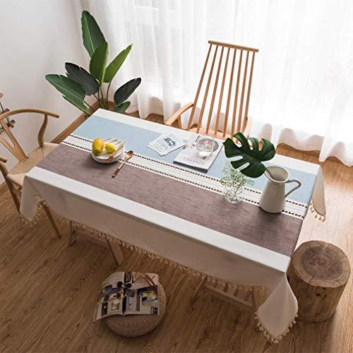 Vekja - Manteles rectangulares de algodón y lino, con borlas, lavable, impermeable, a prueba de polvo, decoración de mesa de café, café y café