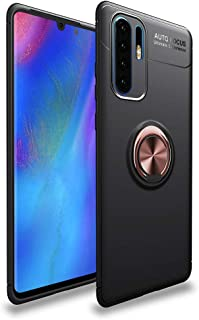 LAGUI Compatible for Huawei P30 Pro Case, Magnetic Car Mount Dedicated Cover With finger Ring Holder. rose gold+black