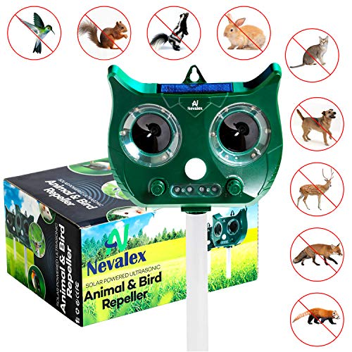 Nevalex Ultrasonic Animal Repeller Solar Powered Waterproof with Sound Control, Motion Sensor & Flashing Lights. Scare Away Deer Cat Dog Squirrel Birds Mole Rat Vole Skunk Raccoon Rabbit Repellent