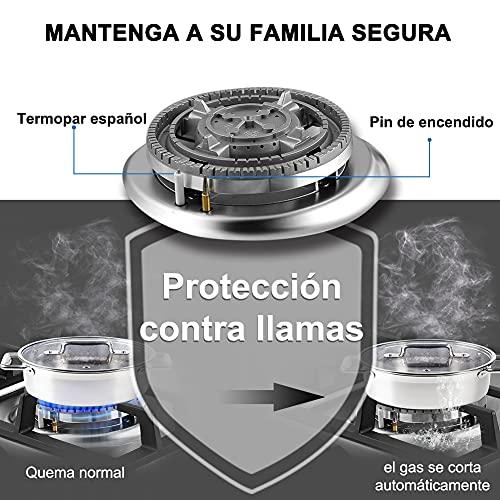 Thermomate GHSS604 60cm Placa de Gas Integrado, Encimera de Gas de 4 Quemadores, NG/LPG Cambiar, Acero inoxidable…