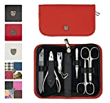 3 Swords Germany - brand quality 6 piece manicure pedicure grooming kit set for professional finger & toe nail care scissors clipper genuine leather case in gift box, Made in Solingen Germany (13907)