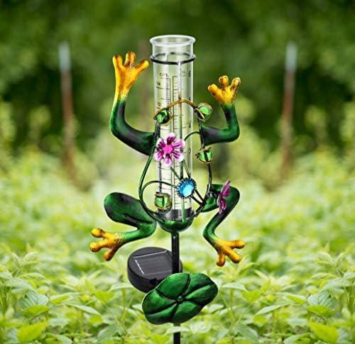 Litake Frog Rain Gauge Outdoor Decorative Metal Solar Rain Gauges Stake for Garden Yard 6 Inch product image