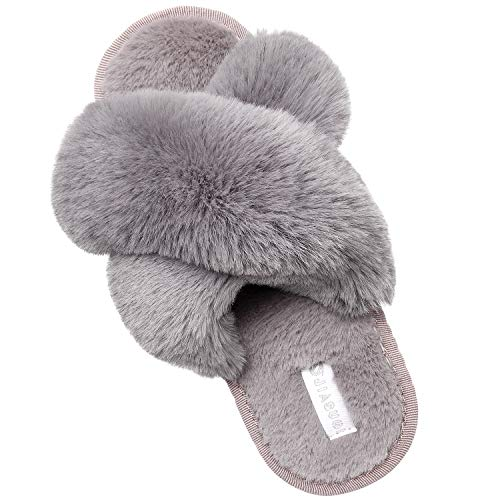 JIASUQI Faux Fur Cross House Slippers for Womens Fuzzy Slides Fluffy Sandals Open Toe Indoor Outdoor Slippers for Women Brown 6-7