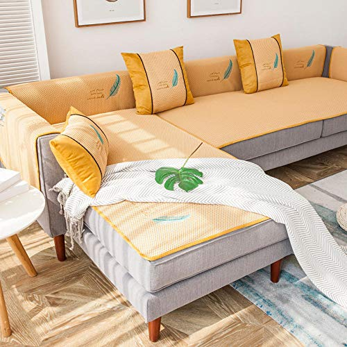 YUTJK Cubierta de Sofa de Mat de Verano Bordado,Cotton Printed Corner Sofa Slipcover,Living Room Fabric Sofa Seat Covers,Furniture Protector Cover,Amarillo 1_60×120cm
