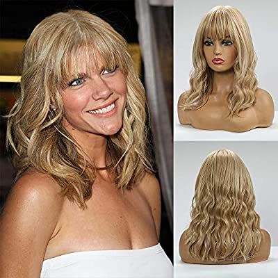 BOGSEA Wigs with Bangs Shoulder Length Wig for Women Short Wave Synthetic Heat Resistant Hair Wig for Daily Use