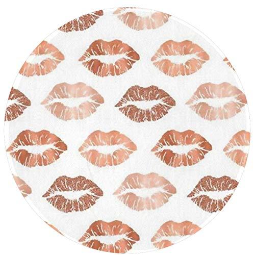 Alfombra redonda de labio de mármol de oro rosa Alfombra de 60 cm Alfombra antideslizante Alfombra de piso súper suave para exterior Alfombra de piso Decoración para el hogar Alfombra de entrada