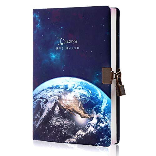 Planet Locking Journal for Boys&Kids, Lock Diary with Keys,PU Leather Cover Journal Personal Organizers ,A5 Secret Notebook, Gift for Adults,8.38in x 5.7in
