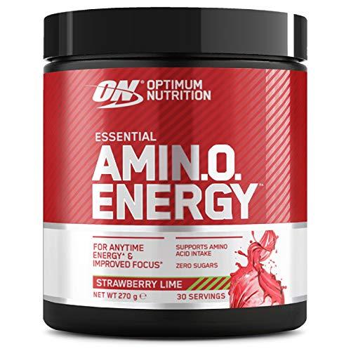 Optimum Nutrition Amino Energy, Pre Workout in Polvere, Energy Drink con Beta Alanina, Vitamina C, Caffeina et Aminoacidi, Fragola e Lime, 30 Porzioni, 270g, il Packaging Potrebbe Variare