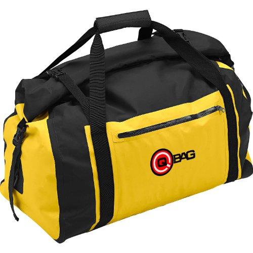 QBag Hecktasche Motorrad Motorradtasche Hecktasche / Gepäckrolle wasserdicht 04, widerstandsfähig, reißfest, reflektierende Keder, gepolsterter Tragegriff, inklusive anklickbarem Schultergurt, Gelb, bis zu 80 Liter