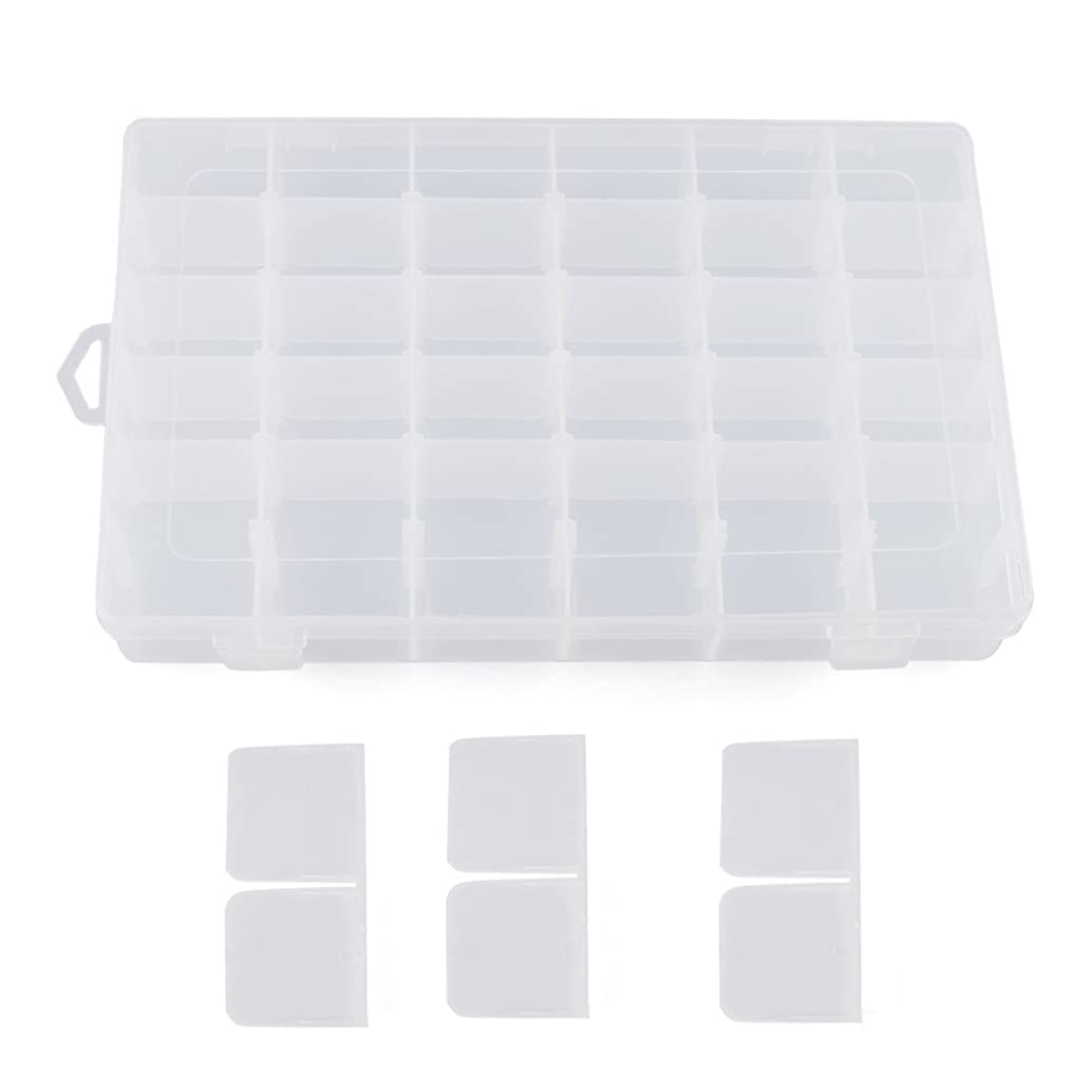Plastic Jewelry Box, RilexAwhile Clear Plastic Jewelry Box Organizer Storage Container with Adjustable Dividers 36 Grids