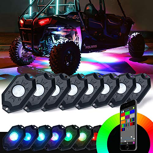 Xprite RGB LED Rock Lights w/Bluetooth Controller, Multicolor Neon LED Light Kit Timing Function, Flashing, Music Mode for Underglow Off Road Truck SUV - 8 Pods
