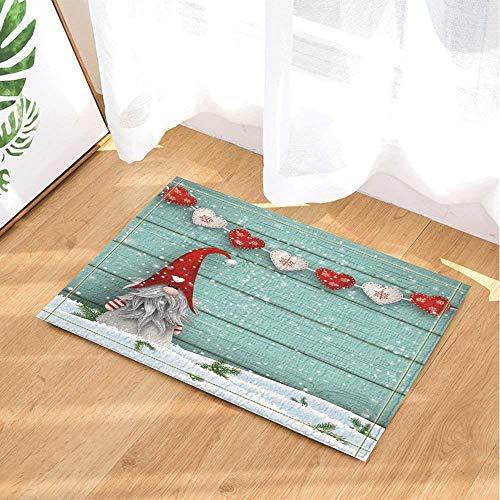 ASDAH Kerst Decor Rood Hart Gevormd op Turkoois Houten Blank Sneeuw Bad Tapijten Niet Slip Deurmat Vloer Ingangen Indoor Voordeur Mat Kids Bad Mat Badkamer Accessoires