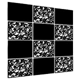 LRZCGB Hanging Room Divider,12pcs PVC Black Solid and Cut Panel Screen for Decorating Living, Dining, Study and Sitting-Room, Hotel(Black+Soild Board)