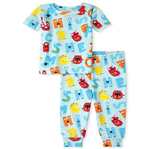 The Children's Place Unisex Baby and Toddler ABC Snug Fit Cotton Pajamas, SkyDrift, 3T